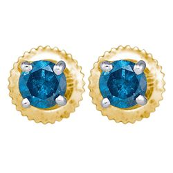 10kt Yellow Gold Round Blue Color Enhanced Diamond Solitaire Stud Earrings 1/4 Cttw