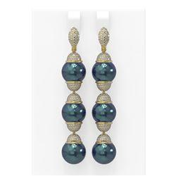 3 ctw Diamond & Pearl Earrings 18K Yellow Gold