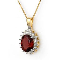 3.45 ctw Pink Tourmaline & Diamond Necklace 14k Yellow Gold