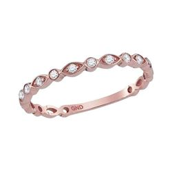 10kt Rose Gold Round Diamond Vintage Stackable Band Ring 1/8 Cttw