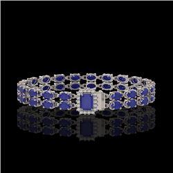 19.07 ctw Sapphire & Diamond Bracelet 14K White Gold