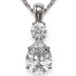 1.25 ctw Pear Cut Diamond Designer Necklace 18K White Gold