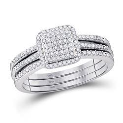 10kt White Gold Diamond Cluster Bridal Wedding Engagement Ring Band 3-Piece Set 1/3 Cttw