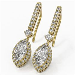 2.4 ctw Marquise Cut Diamond Designer Earrings 18K Yellow Gold