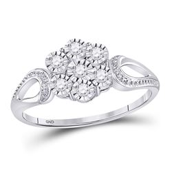 Sterling Silver Round Illusion-set Diamond Flower Cluster Ring 1/8 Cttw