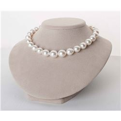 """Silver-Rose White South Sea Drop-Shape Pearl Necklace, 18"""", 12.3-15.6mm, AA+/AAA Quality"""