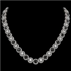 32.10 ctw Black & Diamond Micro Pave Necklace 18K White Gold