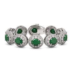 49.17 ctw Emerald & Diamond Victorian Bracelet 14K White Gold
