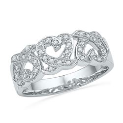 10kt White Gold Round Diamond Triple Heart Band Ring 1/5 Cttw