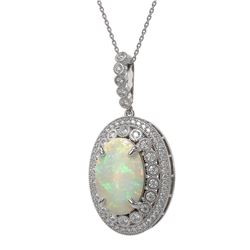 13.42 ctw Certified Opal & Diamond Victorian Necklace 14K White Gold