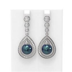 3.8 ctw Diamond & Pearl Earrings 18K White Gold