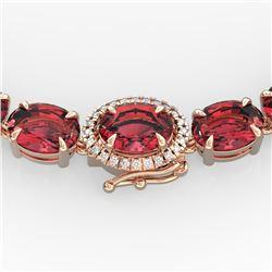 66 ctw Pink Tourmaline & VS/SI Diamond Micro Necklace 14k Rose Gold