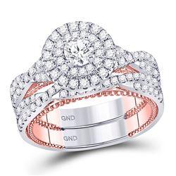 14kt Two-tone Gold Round Diamond Bridal Wedding Engagement Ring Band Set 1-3/8 Cttw