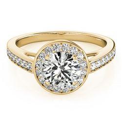 0.9 ctw Certified VS/SI Diamond Halo Ring 18k Yellow Gold