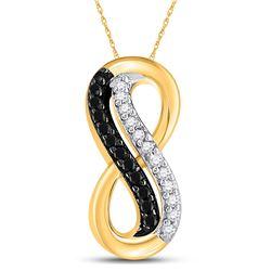 10kt Yellow Gold Round Black Color Enhanced Diamond Infinity Pendant 1/10 Cttw