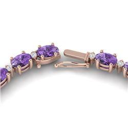28 ctw Amethyst & VS/SI Diamond Certified Eternity Necklace 10k Rose Gold