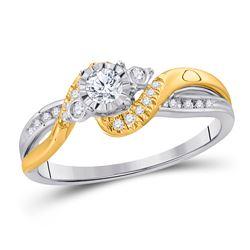 14kt Two-tone Gold Round Diamond 3-stone Bridal Wedding Engagement Ring 1/4 Cttw