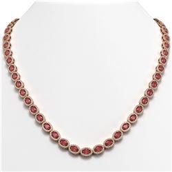 23.57 ctw Tourmaline & Diamond Micro Pave Halo Necklace 10k Rose Gold