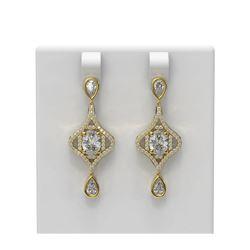 3.82 ctw Oval Diamond Earrings 18K Yellow Gold