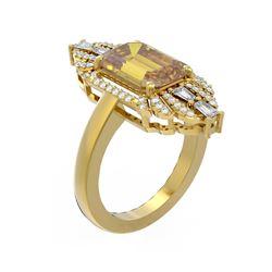 5.16 ctw Canary Citrine & Diamond Ring 18K Yellow Gold