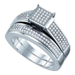 Sterling Silver Diamond Square Cluster Bridal Wedding Engagement Ring Band Set 3/8 Cttw