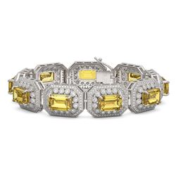 49.68 ctw Canary Citrine & Diamond Victorian Bracelet 14K White Gold