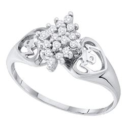 14kt White Gold Round Prong-set Diamond Cluster Heart Mom Ring 1/6 Cttw