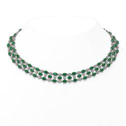63.65 ctw Emerald & Diamond Necklace 10K White Gold