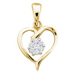10kt Yellow Gold Round Diamond Flower Cluster Heart Pendant 1/12 Cttw