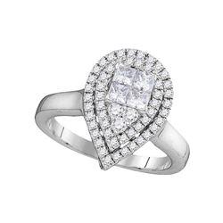 14kt White Gold Princess Round Diamond Teardrop Bridal Wedding Engagement Ring 5/8 Cttw