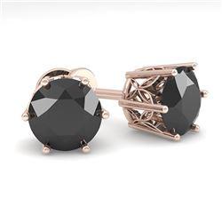 3.0 ctw Black Certified Diamond Stud Earrings 18k Rose Gold