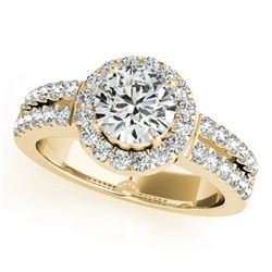 0.85 ctw Certified VS/SI Diamond Halo Ring 18k Yellow Gold