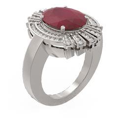 7.72 ctw Ruby & Diamond Ring 18K White Gold