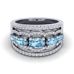 2.25 ctw Sky Blue Topaz & Micro Pave VS/SI Diamond Ring 10k White Gold