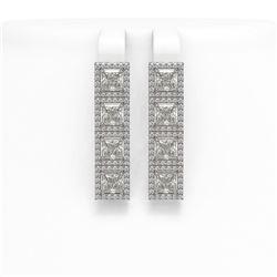 6.08 ctw Princess Cut Diamond Micro Pave Earrings 18K White Gold