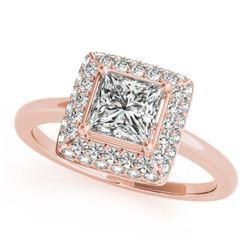 1.05 ctw Certified VS/SI Princess Diamond Halo Ring 18k Rose Gold