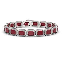 26.21 ctw Ruby & Diamond Micro Pave Halo Bracelet 10k White Gold