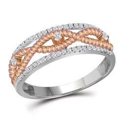 10kt White Gold Round Diamond Rose-tone Rope Twist Band 1/4 Cttw