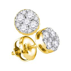 14kt Yellow Gold Round Diamond Cluster Earrings 1/4 Cttw