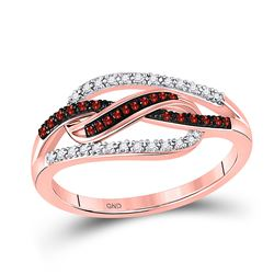 10kt Rose Gold Round Red Color Enhanced Diamond Woven Fashion Ring 1/6 Cttw