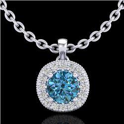 1.1 ctw Fancy Intense Blue Diamond Art Deco Necklace 18k White Gold