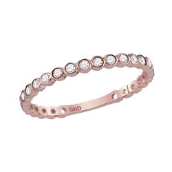 14kt Rose Gold Round Diamond Bezel Set Stackable Band Ring 1/5 Cttw