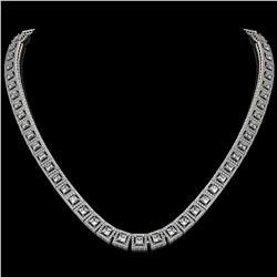24.4 ctw Princess Cut Diamond Micro Pave Necklace 18K White Gold