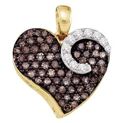 10kt Yellow Gold Round Brown Diamond Heart Pendant 3/4 Cttw