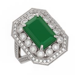 7.11 ctw Certified Emerald & Diamond Victorian Ring 14K White Gold