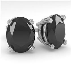 10 ctw Oval Black Diamond Stud Designer Earrings 14k White Gold