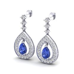 2.25 ctw Tanzanite & Micro Pave VS/SI Diamond Earrings 14k White Gold