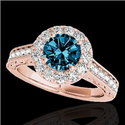 1.7 ctw SI Certified Fancy Blue Diamond Solitaire Halo Ring 10k Rose Gold