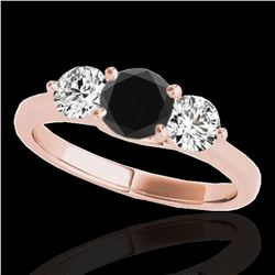 3 ctw Certified VS Black Diamond 3 Stone Solitaire Ring 10k Rose Gold