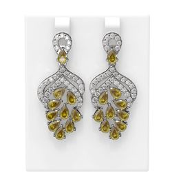 11.41 ctw Canary Citrine & Diamond Earrings 18K White Gold